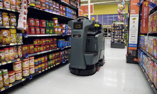A robot scanning shelves in a food store.